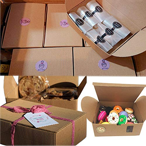 Chilly Treat Gift Boxes, Set of 10 Bakery Boxes Decorative Cupcake Cookies Chocolate Boxes, 37 Stickers Included ()