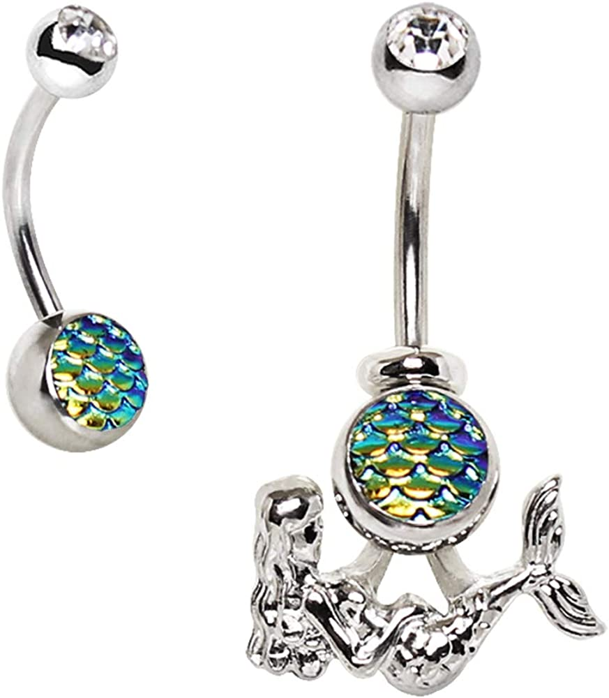 Body Jewelry Belly bar,Navel Piercing Ring,Belly Button Ring Best Gift, Mermaid scale Belly Ring Belly Ring
