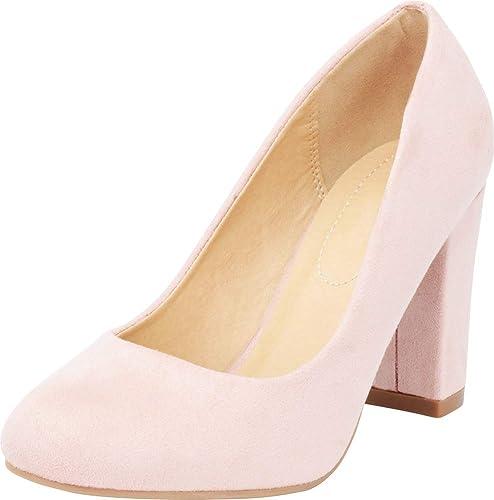 945afa6b74c2b Cambridge Select Women's Classic Round Toe Chunky Block Heel Pump