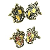 Outlander Gear Harry Potter 2 Pairs Hufflepuff Crest & Gryffindor Crest Superhero 2018 Movie Mens Boys Cufflinks