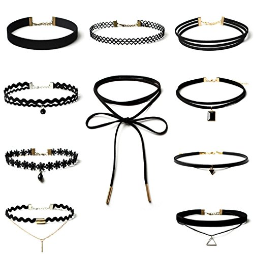 GBSELL 10 Pieces Choker Necklace Set Stretch Velvet Classic Gothic Tattoo Lace Choker