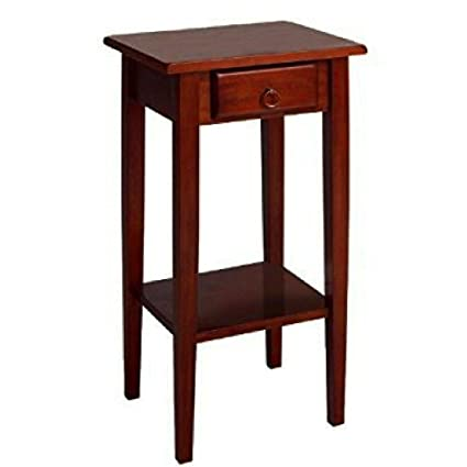 Genial Small Wooden End Table With Drawer And Shelf Storage Brown Walnut Telephone  Table Narrow Classic Hall
