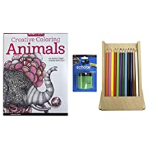 Creative Coloring Animals Adult Coloring Book Set with 12 Pc Blendable Colored Pencils, Prismacolor Scholar Pencil Sharpener, & Art Alternatives Wooden Pencil Easel Box
