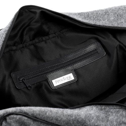 FEYNSINN Reisetasche ROBERTO - Weekender groß - Sporttasche - echt Filz & Leder schwarz-grau