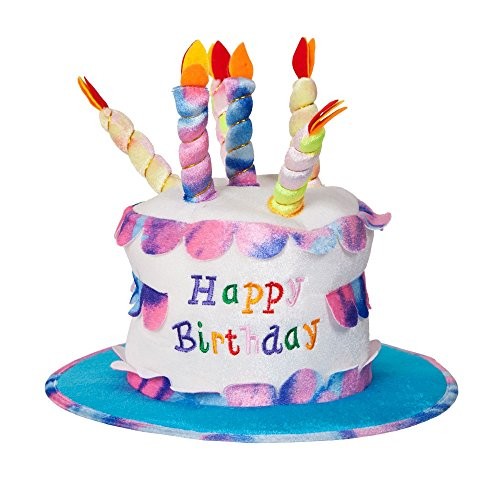 Adult Happy Birthday Cake Hat With Candles Fancy Dress Party Accessory Funny New ...