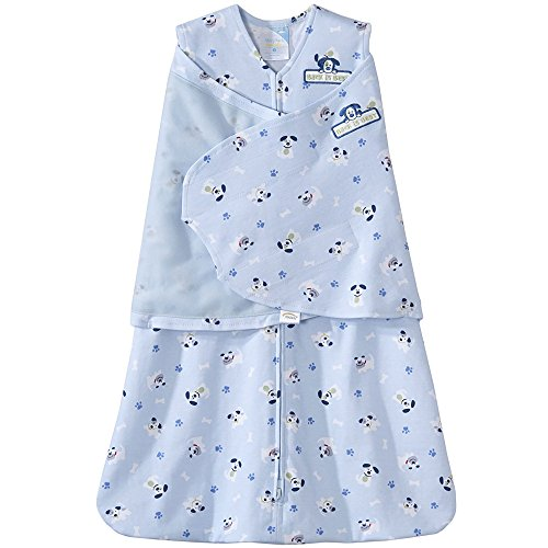 HALO 100% Cotton SleepSack Swaddle, Blue Pup Pals, Newborn -