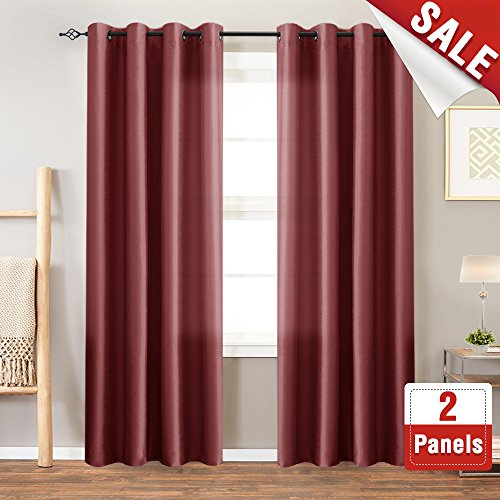 Faux Silk Window Curtains for Living Room 84 inch Length Dupioni Curtain Panels for Bedroom Grommet Top Window Treatments Light Filtering Satin Drapes, Burgundy Red, 1 Pair