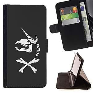 BullDog Case - FOR/Sony Xperia Z1 Compact D5503 / - / UNICORN BONES FUNNY GREY SKULL HORN /- Monedero de cuero de la PU Llevar cubierta de la caja con el ID Credit Card Slots Flip funda de cuer