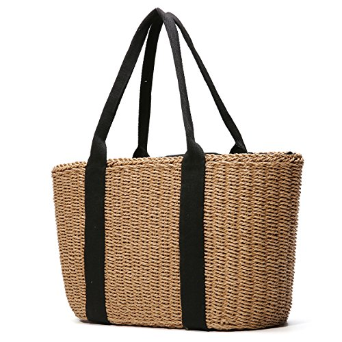 Women Shoulder Bag, Tezoo Popular Handbag and Tote for Beach Travel and Everyday Use, Woven Straw Braid, with Top Handle and Zipper Pocket, Coffee and Off-white Coffee