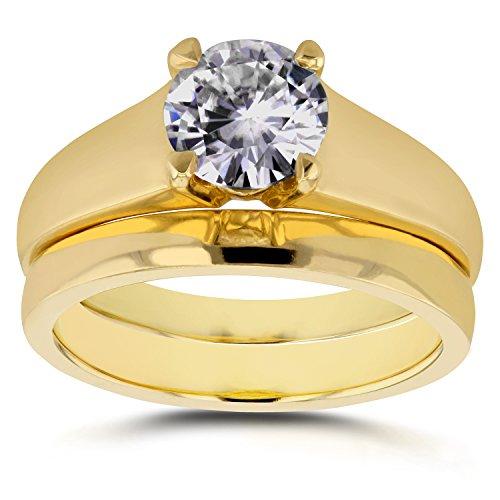 Un Diamant Solitaire rond classique mariée Lot de 1carat en or jaune 14K _ 5.0