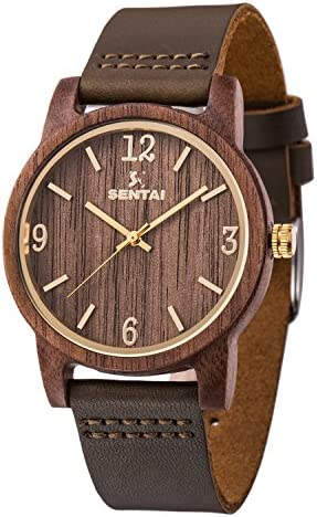 Sentai Natural Wood Watch, Genuine Leather Strap, Handmade Quartz Watches, Zebra Wood Men s Women s Wrist Watch