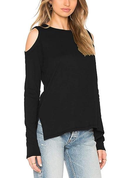 d8c9ef30b1fb Bestisun Black Sweatshirts Off Shoulder Sweatshirt Long Sleeve Slouchy  Shirts Side Split Sweatshirt Black S