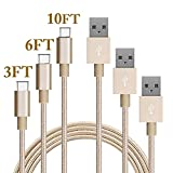 Type C Cable, MCUK 3 Pack 3ft 6ft 10ft Lightning Cable Charging Cord Nylon Braided Data Sync Cable for New Macbook 12 inch, OnePlus 2, LG G5, Nexus 6P/5X, ChromeBook Pixel (3ft+6ft+10ft)Gold