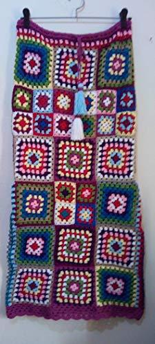 - Handmade Crochet Multicoloured Granny Squares Skirt Patchwork Gypsy Boho Hippie Vintage Festival