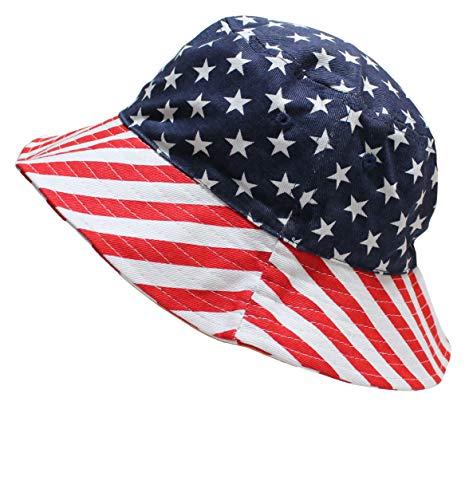 T&T American Flag Men Women Summer Fisherman Bucket Hat Red White -