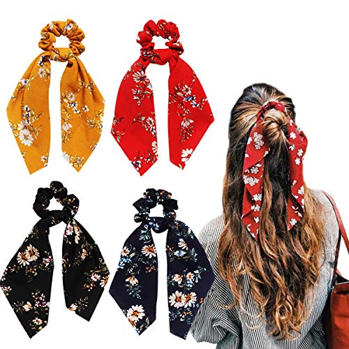 - Byinns Hair Scrunchies with Bowknot Chiffon Silk Stain Scarf Elastic Ties Hair Bands Ponytail Holder for Women Accessories