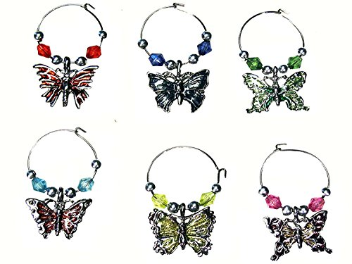 - Butterfly Beaded Wine Glass (Tag/Marker) Charms- (Set of 6)