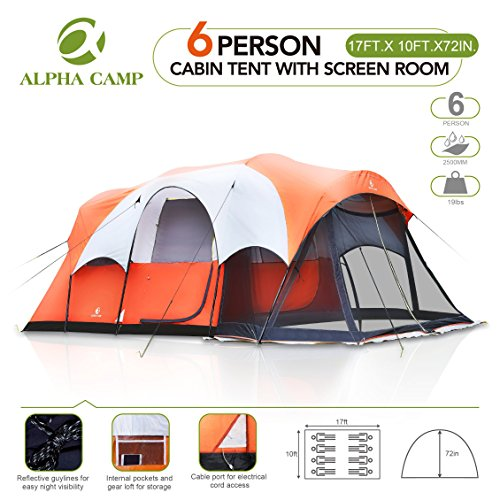 ALPHA CAMP Cabin Tent Family Camping With