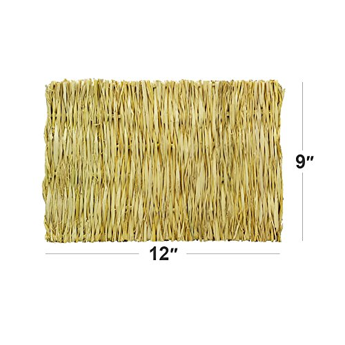 ULIGOTA Natural Woven Hay Mat for Rabbit Hamster Chinchilla Cage Bedding, Chew Toy for Guinea Pig Chinchilla Hamster - 3 Pack by ULIGOTA (Image #2)