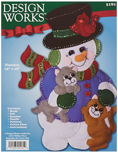 Tobin Snowman with Cats Wall Hanging Felt Applique Kit, 13 by 18-Inch