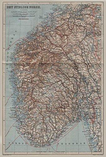 Amazoncom SOUTHERN NORWAY Det Sydlige Norge Kart BAEDEKER - Norway map amazon