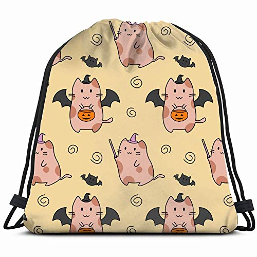 Cute Cat Halloween Costume Pattern Animals Wildlife Drawstring Backpack Bag Gym Sack Sport Beach Daypack For Girls Men & Women Teen Dance Bag Cycling Hiking Team Training -