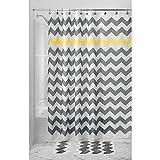 InterDesign Shower Curtain, 54 by 78-Inch, Gray/Yellow Chevron