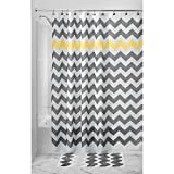 "InterDesign Chevron Extra-Wide Fabric Shower Curtain for Master, Guest, Kids', College Dorm Bathroom, 72"" x 108"", Gray and Yellow"