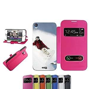 SNOW GIRL CASELABDESIGNS FUNDA TAPA PARA HTC DESIRE 820 FUCSIA-FUNDA PLEGABLE DE COLOR ROSA/FUCSIA