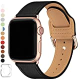 LOVLEOP Bands Compatible with Apple Watch Band 42mm 44mm, Top Grain Leather Strap for iWatch Series 4 Series 3 Series 2 Series 1 (Black+Rose Gold Connector, 42mm 44mm)