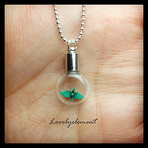 miniatures smallest origami crane necklace, flat round glass vial ()