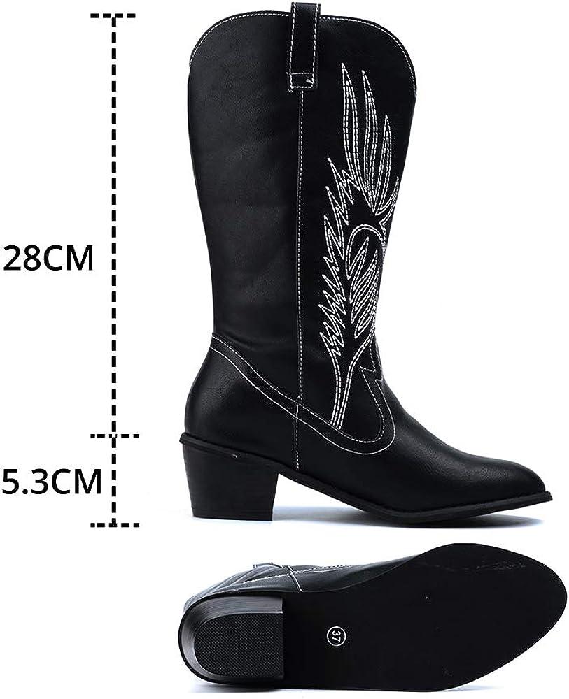 Santiag Femmes Bottes Cowboy Western/Hiver Boots Equitation /à Talon Bloc 5.3CM Bottine PU Cuir Vintage Confort/Noir Marron Blanc EU 35-43