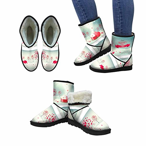 InterestPrint Womens Snow Boots Holiday Retro Banners, Valentine Trees With Heart Shaped Leaves Unique Designed Comfort Winter Boots Multi 1