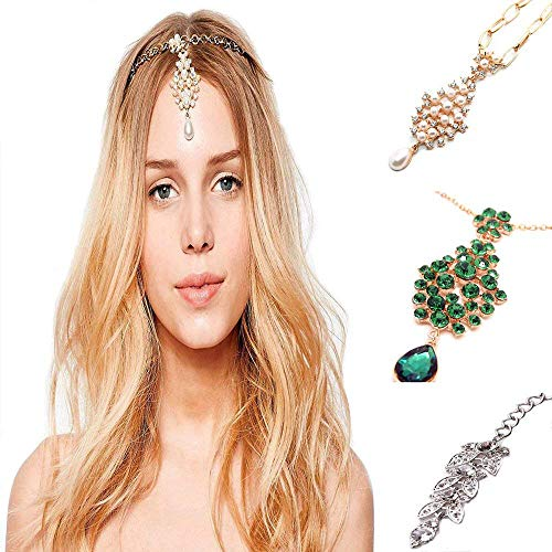 3Pcs Gold Head Chain Accessories Indian Bohemian Bollywood Jewelry for Women -