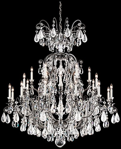 Schonbek 3574-47CL Swarovski Lighting Renaissance Rock Crystal Chandelier,  Antique Pewter - Schonbek 3574-47CL Swarovski Lighting Renaissance Rock Crystal
