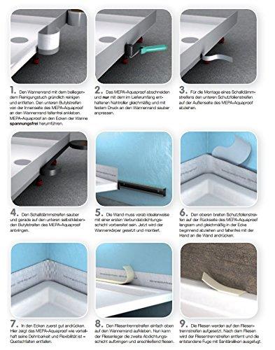 und Badewannen Mepa Wannenabdichtband Set Aquaproof Typ II 180041 Abdichtung von Dusch