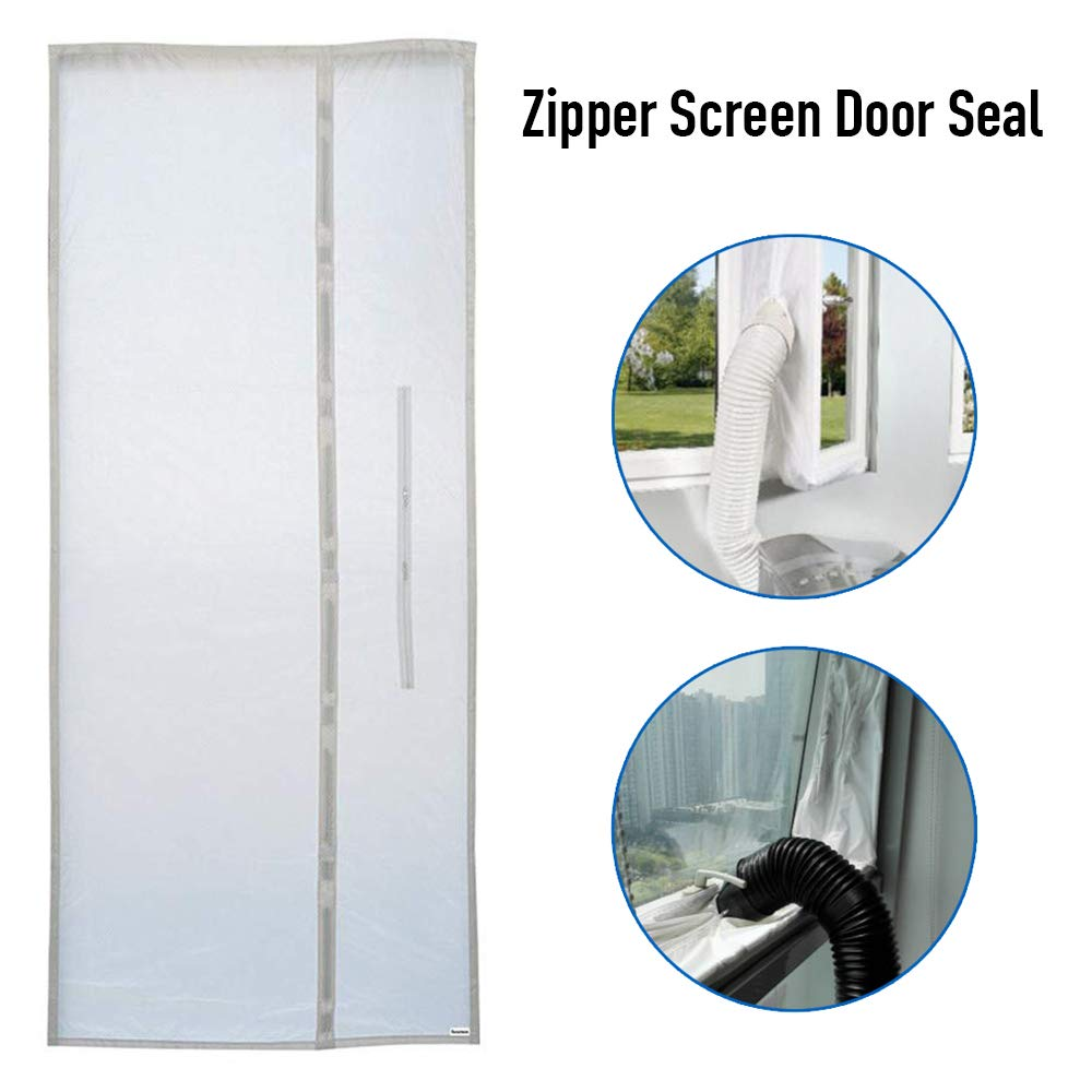 ZHUOHONG Zipper Screen Door Seal for Portable Air Conditioner,90x 210CM Waterproof Zipper Screen Door Seal for Every Mobile Air Conditioning by ZHUOHONG
