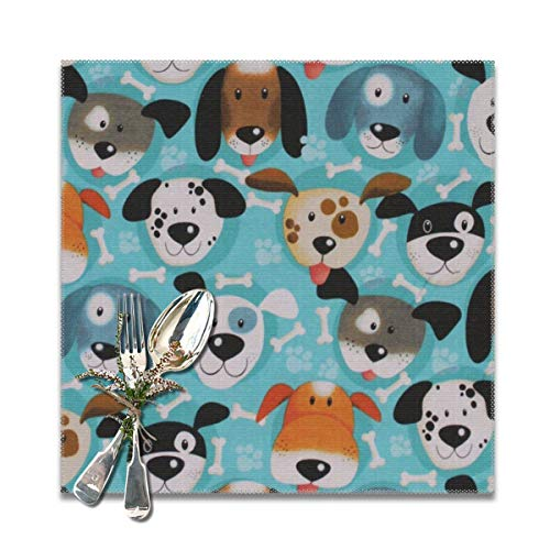 LuJiaoGann Puppy Dog Dogs Faces Allover Bones Paw Prints On Blue Placemat Set of 6 Non-Slip Insulation Placemat Washable Table Mats Easy to Clean(6pcs Placemats, Grey) (Puppies Placemat)