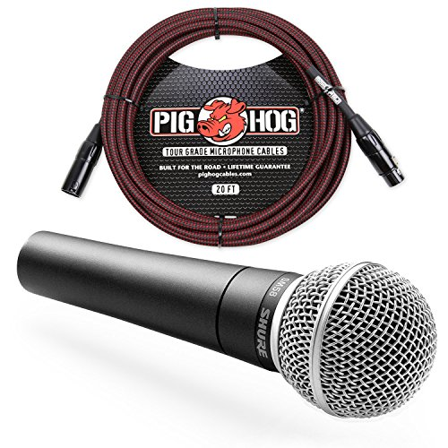 (Shure SM58 Cardioid Vocal Microphone & Pig Hog Mic Cable, 20ft XLR - Bundle (Red))