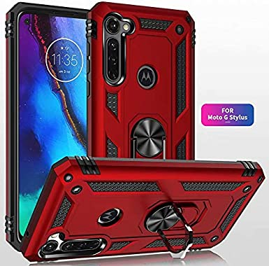 Lantier Heavy Duty Dual Layer Hybrid Shockproof Armor Defender Case with 360 Degree Metal Rotating Finger Ring Holder Kickstand Magnetic Car Mount for Motorola Moto G Stylus Red