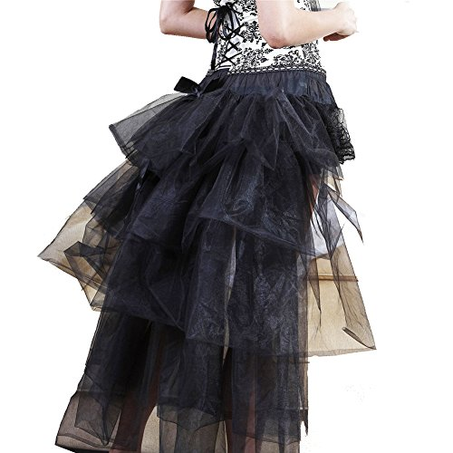 Oliveya Womens Black Lace Steampunk Gothic Satin Skirt Vintage High Low Skirt]()
