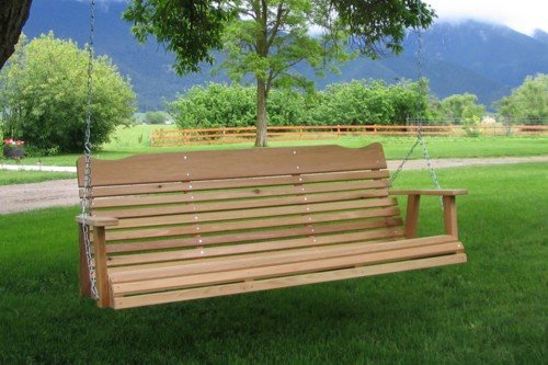 Relax On A Deluxe Wooden Porch Swing