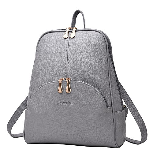 Nevenka Brand Women Bags Backpack PU Leather Zipper Bags Purse Casual Backpacks Shoulder Bags (GRAY)