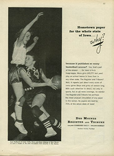 Cedar Valley Hs Basketball Player Ruth Wallestad Des Moines Register Ad 1958