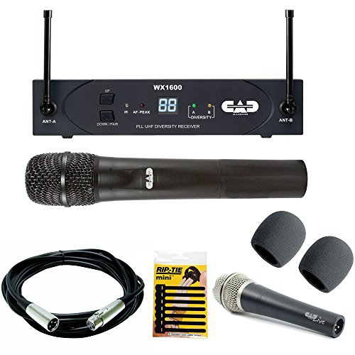 CAD Audio WX1600 G | Wireless Cardioid Dynamic Handheld Microphone System with CAD Audio D90 Premium Supercardioid Dymanic Handheld Mic + Mic Cable, 20 ft. XLR Bulk + Cable Tie & 2 Foam Windscreen