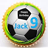PRE-CUT Football Cake Toppers - Personalised Name and Age - Edible Wafer Football Cupcake Decorations - 4cm x 24 Round