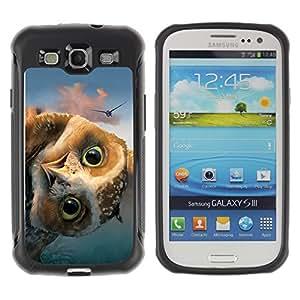 CASSO Cases / Samsung Galaxy S3 I9300 / FUNNY - FRIENDLY OWL / Robusto Prueba de choques Caso Billetera cubierta Shell Armor Funda Case Cover Slim Armor