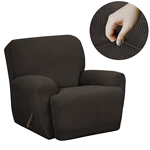 (MAYTEX Reeves Stretch 4 - Piece Recliner Arm Chair Furniture Cover/Slipcover with Side Pocket, Chocolate Brown)