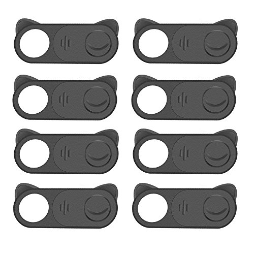 Webcam Cover Slide, 8 Pack Web Camera Cover- slide 0.03in Ultra Thin Metal Magnet Camera Cover for Laptop, Desktop, PC, Macboook Pro, iMac, Mac Mini, Computer, Smartphone? Black? (8 Pack)