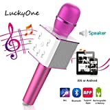 Karaoke Microphone,Mini Portable Wireless Handheld Cellphone Singing Player LuckyOne Bluetooth Speaker Compatible with Android/ IOS Phone for Party Home KTV (Pink)